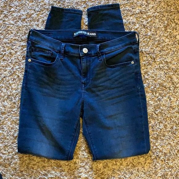 Express dark wash mid-rise leggings